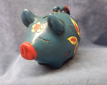 "Vintage ""LEGO"" Japan Blue Flower & Butterfly Piggy Bank,"