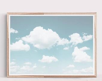 Cloud Print,Pastel Print,Abstract Art Print,Pastel Blue Wall Art,Wall Print,Abstract Print,Clouds,Prints,Digital Download,Large Wall Art