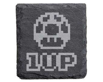 Super Mario 1-Up Engraved Slate Coasters