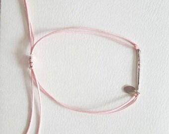 Pink TEXTURE silver bracelet