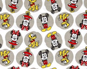 Disney Minnie Mickey and Pluto flannel from Camelot Fabrics, Cotton, rag quilt, mickey mouse, minnie mouse, by the, metre, yard,85270003B