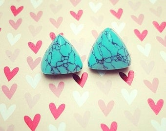 Steling Silver Handmade Triangle Bohemian Style Blue Turquoise Stone Stud Earrings