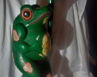 Large Hand Carved and painted Wooden Frog - Vintage