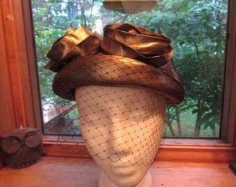 Vintage Gold Lame Hat with Veil, Raldos Boston, 1950's, Rockabilly, Rock & Roll