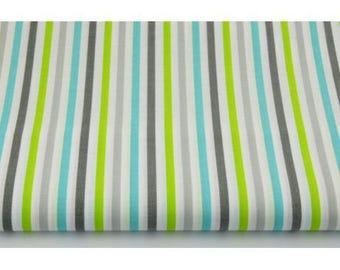 100% cotton fabric piece 160 x 50 cm, textile printing, 100% cotton grey-turquoise-lime stripes