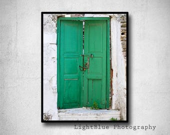 green door photography travel photography Greek island village Greece picture summer green white wall art home decor fine art photo print