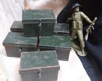 Vintage military shell/light bulb tin/case.