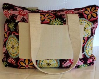 Floral Tote Bag with Zipper
