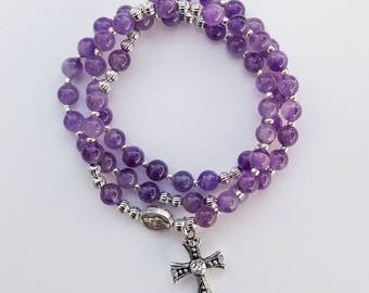 Amethyst Stretch Rosary Bracelet