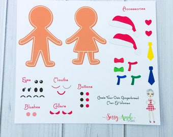 Create Your Own Gingerbread Man/Woman - Christmas stickers