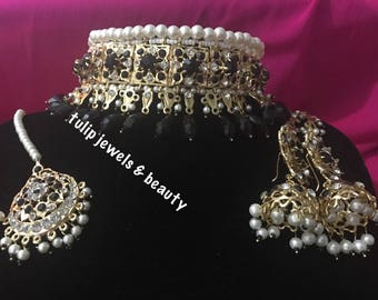 Indian / Pakistani Jewellery Bridal Hyderabadi Choker Jhumka & tikka gold plated