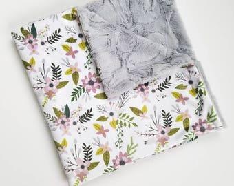 Lavender Floral Baby Blanket, Lavender Floral Sprigs and blooms, Baby Girl Blanket, Floral Baby Blanket, Floral Blanket, Minky Blanket