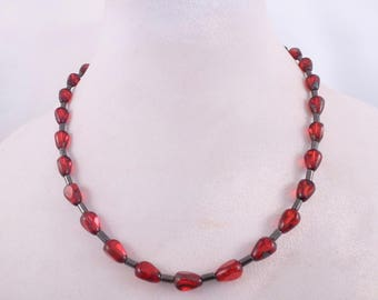 Lava Red and Gray Necklace & Earrings