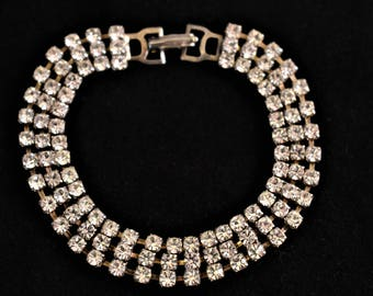 Vintage Mid Century Rhinestone Bangle Bracelet Retro Glam Bride Wedding Costume Jewelry 7""