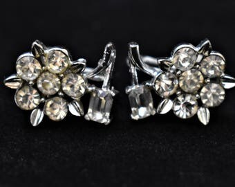 Vintage Lisner Rhinestone Flower Floral Earrings Screw Back Signed Delicate Retro Costume Estate Designer Jewelry 1""