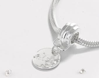 Sterling silver memorial ashes/hair imprinted charm