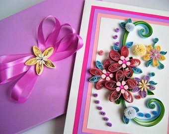 Birthday Flowers,Quilling handmade card,Happy Birthday Purple,Wild Flower Birthday,Quilling Card in a Box,Greeting card,paper quilling card