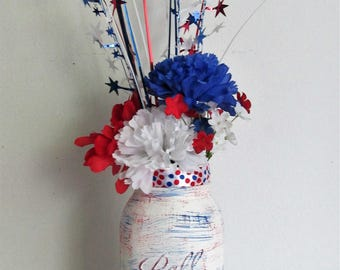 Hand-Painted Patriotic Themed Quart Mason Jar Silk Flower Arrangement, featuring a Firework Pick