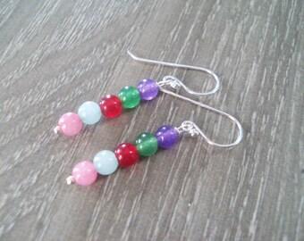 Stone earrings,sterling silver earrings,dangle earrings