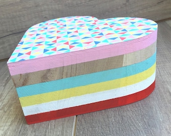 Heart - pattern multicolored triangles wooden box