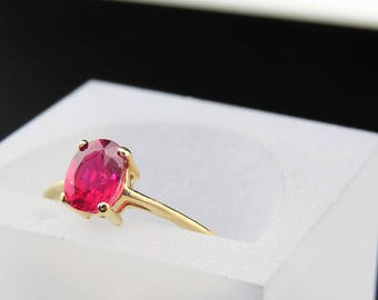 Beautiful 1.16 ct. Natural Ruby and 10K Solid Sold Engagement Ring, Sz 6.5