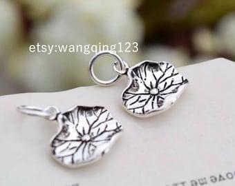 2 pcs sterling silver lotus leaf charm pendant flower , S1
