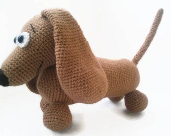 Daschund Crochet, Toy Dog, amigurumi, stuffed toy dog, first toy, baby toy dog, handmade baby gift, crochet dog, amigurumi dogs