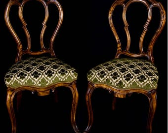 Pair of Swedish Antique Rococo Ornate Dining Chairs