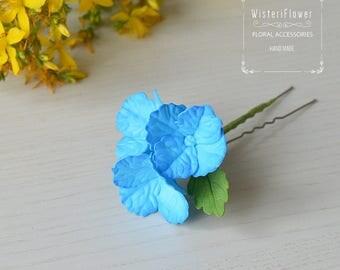 Blue hydrangea Wedding Floral hair pin Blue Wedding hair jewelry Bridal flower girl Bridesmaid hair accessories Flower for hair Gift for her