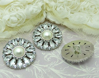 Ivory Pearl Buttons W/ Crystal Clear Rhinestones Silver Acrylic Buttons DIY Wedding Garment Coat Fashion 28mm 3443 J2 Pearl.