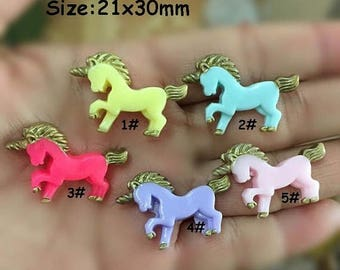 20% SALE 10pcs Cute Unicorn Resin Party Cabochons Resin Flatbacks Scrapbooking Girl Hair Bow Center Crafts Making Embellishments DIY
