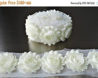 30% OFF IVORY Chiffon Flowers 1/2 Yard or 1 Yard Shabby Flower Trim Frayed Flowers Chic Rosettes Rosette Trim Flowers Shabby Rose Flowers 2.