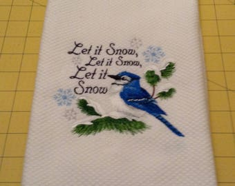 Blue Jay...Let It Snow, Let It Snow! Embroidered Williams-Sonoma Kitchen Towel, Made in Turkey, Extra Large