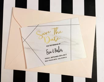 Printable Marble & Gold Geometric Save the Date Announcement