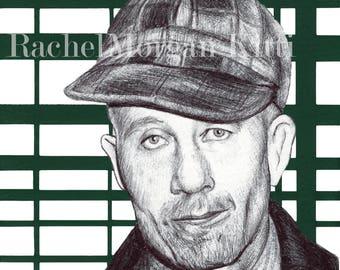 Ed Gein, serial killer, art print, drawing, plaid, portrait, grave digger, creepy, murderer, print