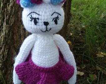 Crochet bunny, skirt and bon bon, must have, handmade