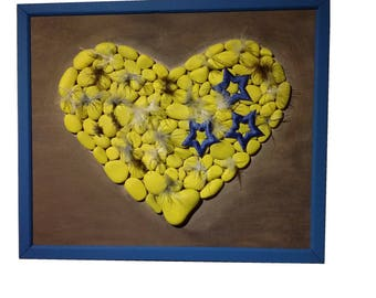Romantic table heart pebbles handmade