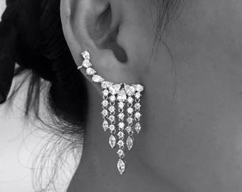 Luxury CZ Teardrop Cuff Earrings