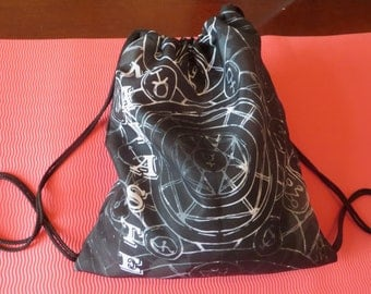 Cosmic Alchemy Drawstring Backpack Namaste Sports Bag Gym Yoga Fitness Space Zodiac Sign Stars Yogi Workout Celestial Woman Galaxy Skies Sky
