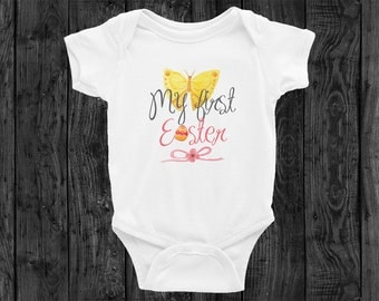 My 1st Easter Baby Bodysuit Onesie Newborn Egg Flower Print Pink Girl Cute Babies Clothing Rabbit Skins Outfit Onesies Infant Butterfly