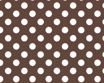 Riley Blake Medium Dots, White on Brown, fabric by the yard