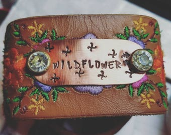 Wildflower boho leather hand stamped copper cuff floral embroidered design