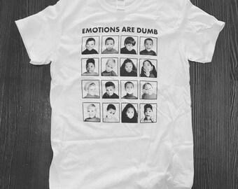 Emotions Are Dumb T-Shirt Hand Printed Silkscreen Black Ink White Cotton Children's Emotional Chart