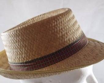 Vintage Straw Fedora Hat Plaid Ribbon