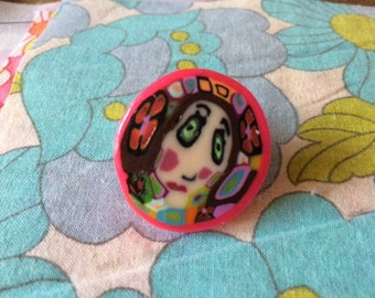 Original and colorful polymer clay ring
