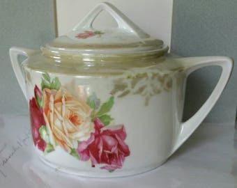 "Beautiful Vintage ""Altenburg China Germany"" Art Deco style hand painted Roses design Porcelain canister stamped"
