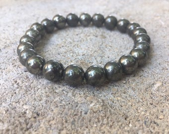 8mm genuine and natural pyrite bracelet, pyrite bracelet, genuine gemstone bracelet, mens and women bracelet, natural stone jewelry