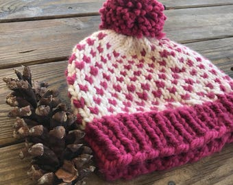 Chunky Knit Pom Hat, Valentines Pink Pom Hat, Womens Chunky Winter Hat, Teen Pom Pom Hat, Winter Chunky Beanie, Fair Isle Hat, Handknit Wool