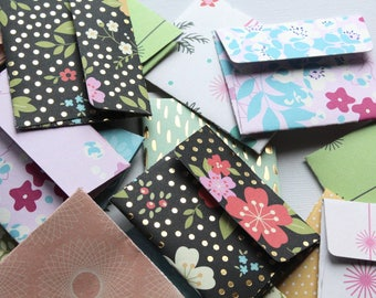 Floral Mini Envelopes, Set of 10, Set of 25, Mini envelopes with inserts, Paper ephemera, Paper embellishments, Journaling, Project Life