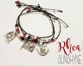 Gasparilla charm bracelets, custom made, adjustable sliding knot leather, bead mix, pirate jewelry, skull,ship, anchor,flag,red,black,gold